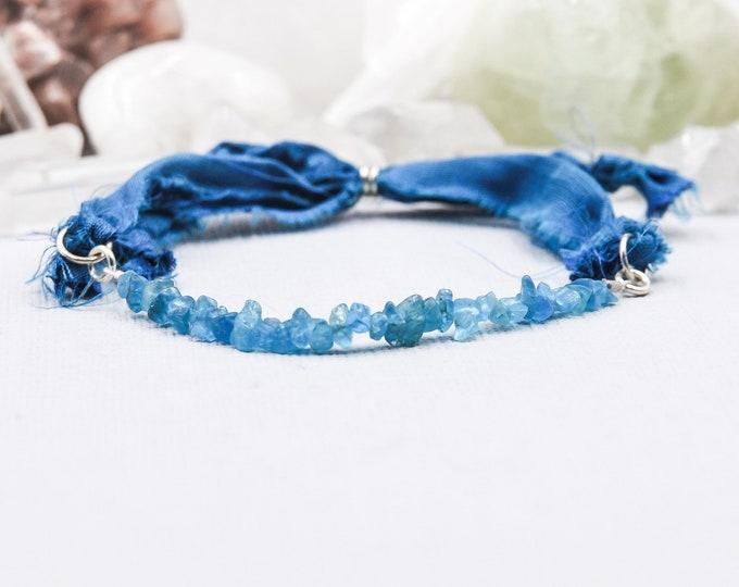 Apatite Energy Bracelet, Silk Wrap Bracelet, Encouragement Gift, Hippie Bracelet