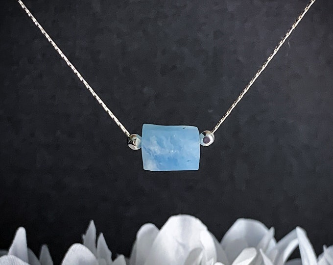 Aquamarine Barrel Delicate Necklace, Thin Silver Necklace, Gemstone Choker, Minimalist Jewelry