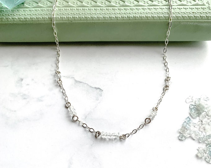 Aquamarine March Birthday Satellite Chain Station Necklace, Silver Satellite Choker