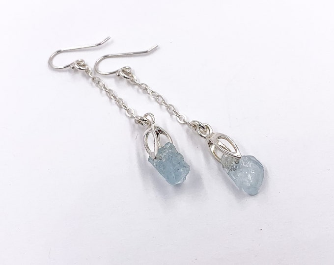 Raw Aquamarine Crystals Nugget Chandelier Earrings with Thin Silver Chain