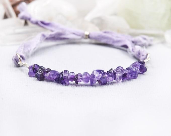 Raw Amethyst Silk Wrap Bracelet, Anxiety Jewelry, Calming Bracelet, February BirthStone