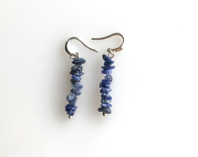 Sodalite earrings Anxiety Jewelry, raw crystal earrings, sodalite jewelry calming stones