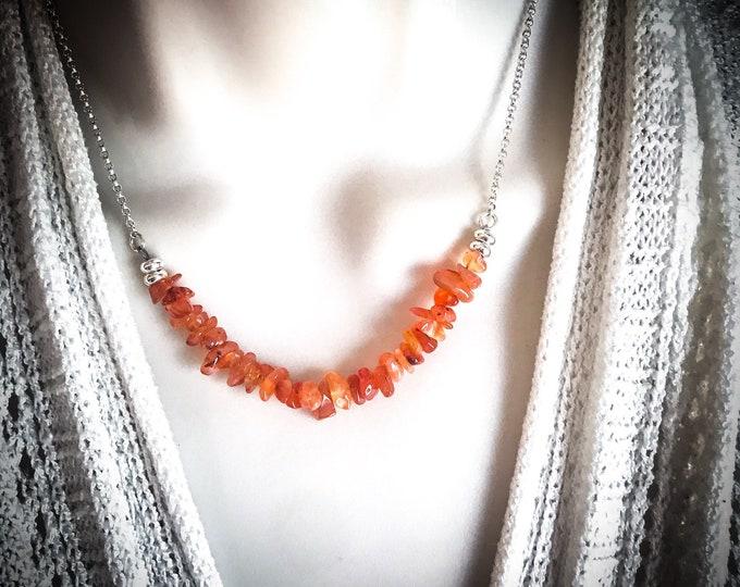 Carnelian Raw Crystal Necklace Bar Choker