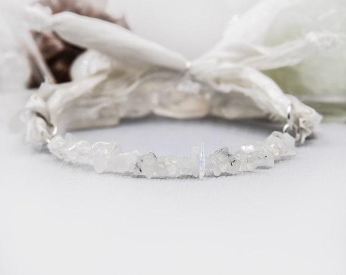 Moonstone Crystal Fertility Gift silk wrap bracelet, Silk Bracelet, Moonstone Bracelet