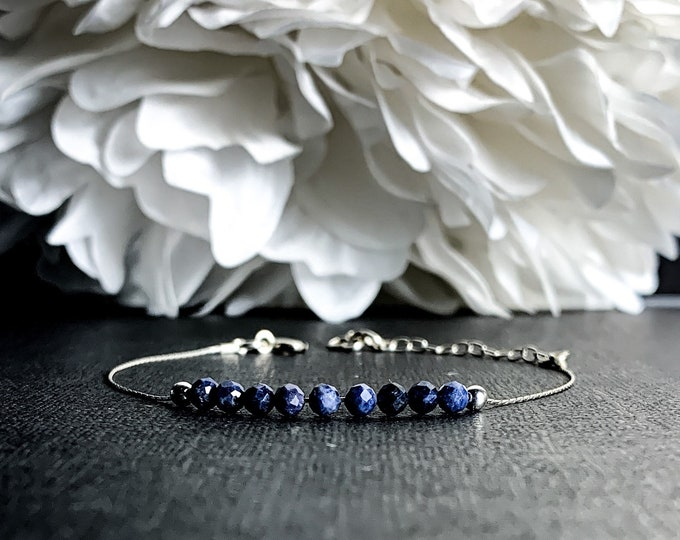 Blue Sapphire Bracelet Sterling Silver Chain Anklet