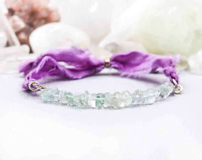 Rainbow Fluorite Crystal Silk Wrap Bracelet, Empath jewelry, Empath Anxiety Bracelet