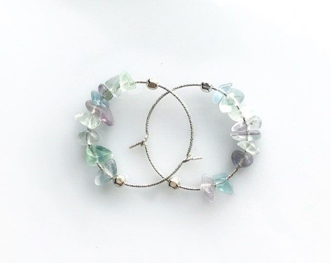 Rainbow Fluorite Earrings Empath Jewelry Raw Crystal Earrings Anxiety Relief small hoop earrings