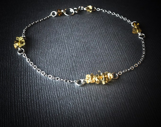 Citrine Crystal Satellite Chain Anklet Birthstone Bracelet