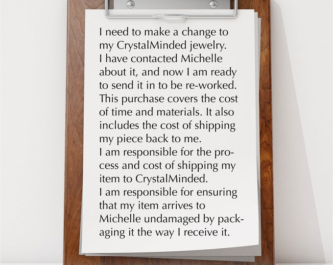 Rework, Exchange, Repair CrystalMinded Jewelry