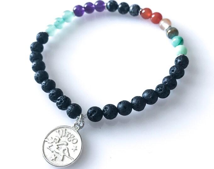 Virgo Zodiac Bracelets Diffuser Bracelet Astrology Bracelet lava stone bracelet