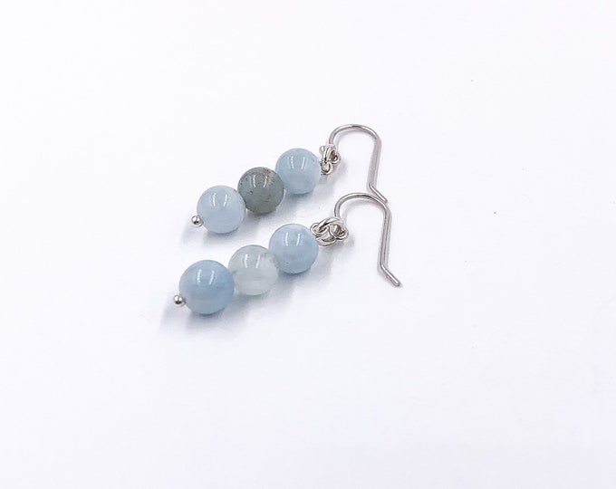 Aquamarine Stone Silver Dainty Drop Earrings