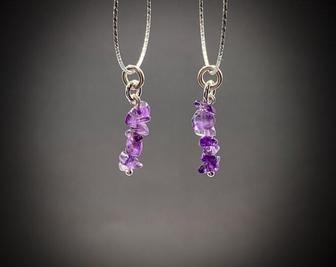 Amethyst Dangle Hoop Silver Crystal Earrings