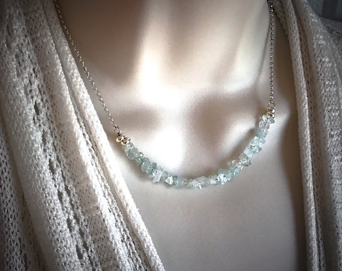 Raw Aquamarine Necklace Pregnancy Crystals Protection Necklace Bar Choker