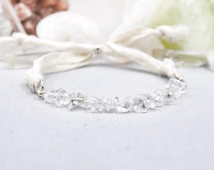 Clear Quartz Bracelet Mindfulness Gift, Silk Wrap Bracelet, Energy Bracelet