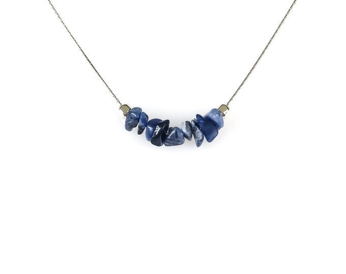 Raw Sodalite Necklace, Calming Necklace for self esteem and self confidence