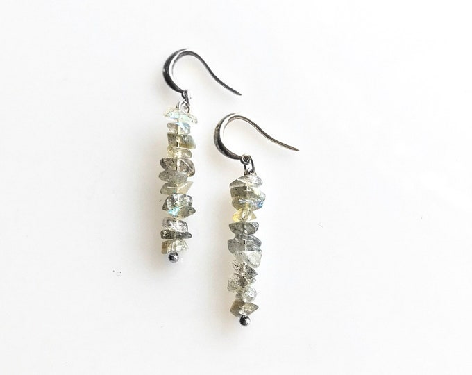Iridescent Stone Labradorite Earrings, Raw Crystal Earrings, Grounding Jewelry, Anxiety Jewelry