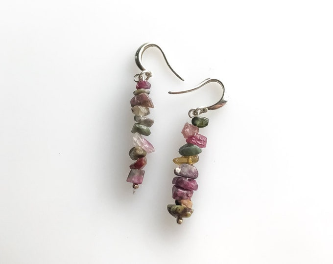 Raw Tourmaline Earrings, October Birthstone Raw Crystal Earrings, self confidence