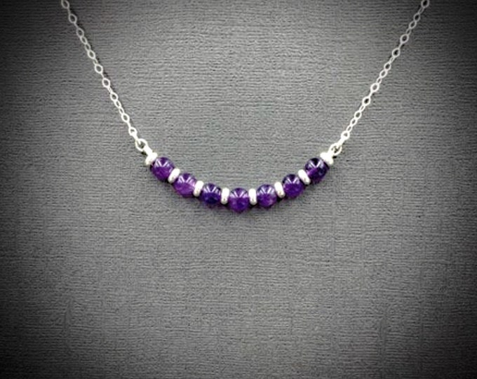 Silver and Amethyst Necklace Calming Stones Birthstone Jewelry