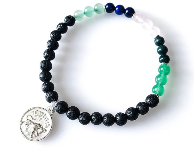 Taurus Lava Bead Bracelet Horoscope Jewelry Zodiac Bracelets Taurus Gift Lava Bracelet
