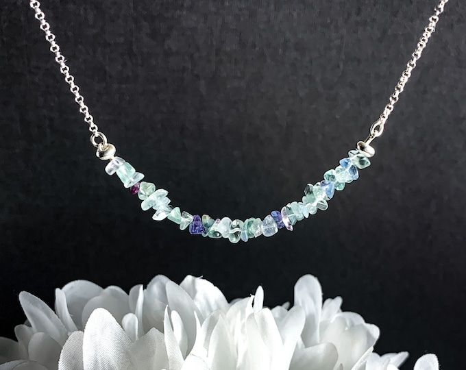 Rainbow Fluorite Empath Anxiety Protection Pisces Birthstone Crystal Necklace, Beaded Necklace Jewelry, Best Friend Gift