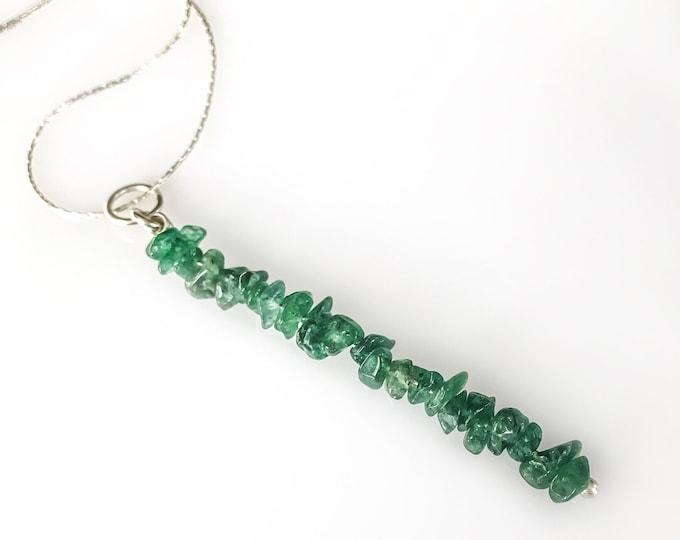 Raw Green Aventurine Pendant Bead Bar Necklace, Abundance Necklace Aventurine Necklace