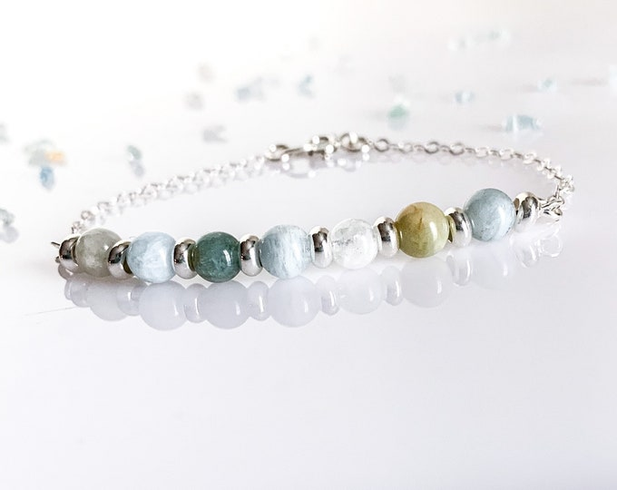 Aquamarine Beaded Sterling Silver gemstone bar bracelet