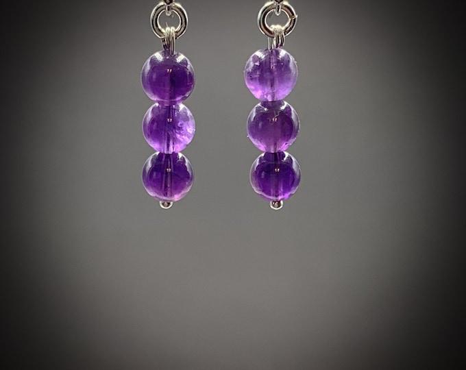 Amethyst Bar Dangle Simple Stone Earrings