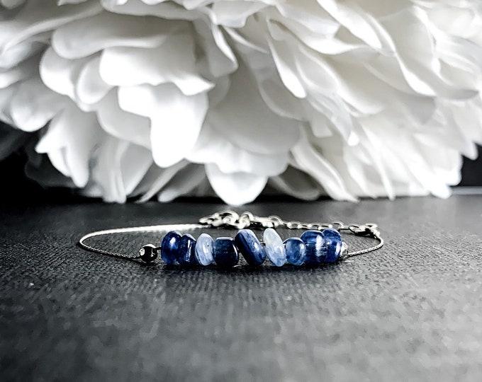 Blue Kyanite Rough Crystal Bracelet Silver Anklet