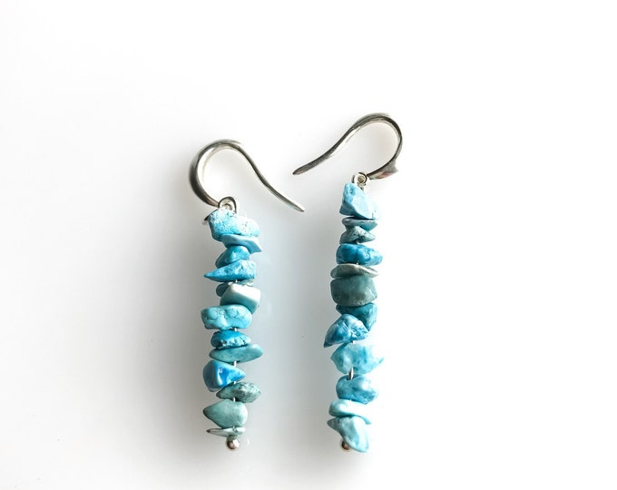 Raw Turquoise Sagittarius December Birthstone Raw crystal Earrings, Anxiety Crystals