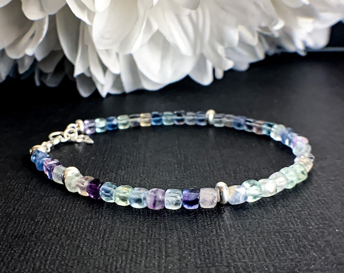Rainbow Fluorite Crystal Bracelet Pisces Empath Protection Gift for Anxiety Relief Healing Bracelet