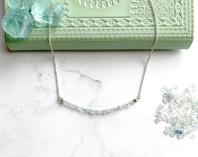 Aquamarine Crystal Silver choker necklace March Birthstone Jewelry