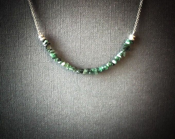 Raw Emerald Bead Bar Necklace Prosperity Jewelry