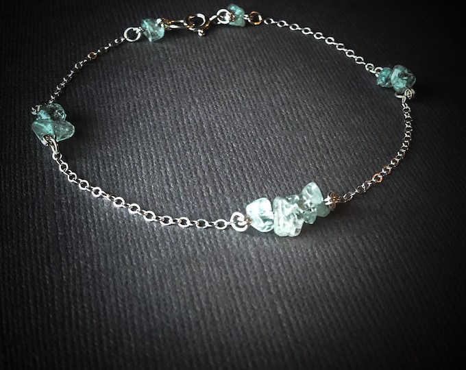 Raw Aquamarine Crystal Satellite Bracelet, Ankle Bracelet