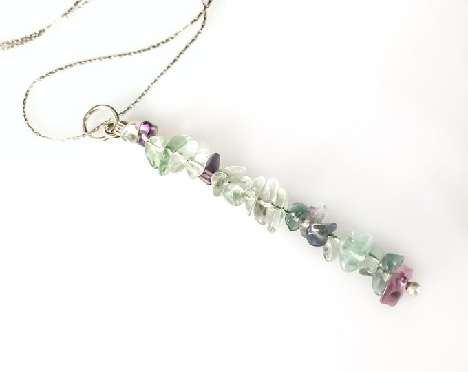 Rainbow FLuorite Pendant Pisces Birthstone Empath Protection Gem Bar Necklace