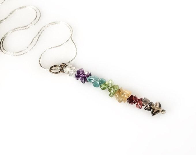 7 Chakra Necklace Mindfulness Gift, Chakra Pendant gem bar necklace, beaded bar necklace