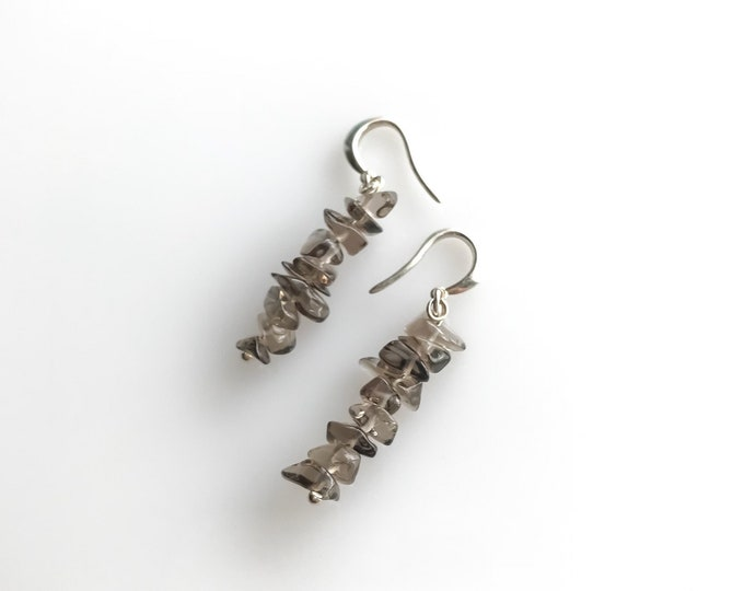 raw smoky quartz empath protection, raw crystal earrings, EMF protection, anxiety relief
