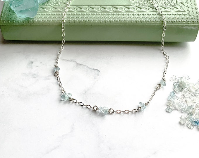 Raw Stone Aquamarine Satellite Station Necklace in Silver, Protection Necklace