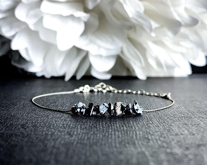 Black Snowflake Obsidian Raw Crystal Bracelet Dainty Anklet