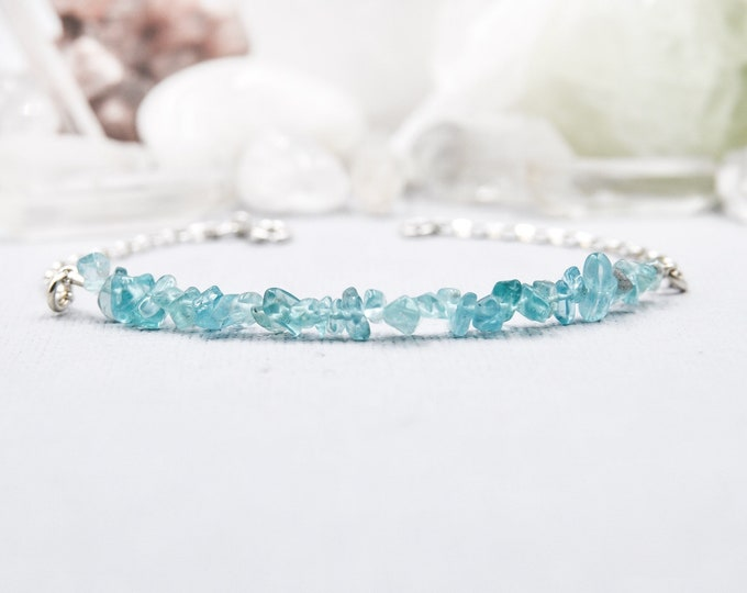 Apatite Bracelet Jewelry Gift - Energy Bracelet, Throat Chakra, Blue Bracelet, Best Friend Gift, Blue Bracelet