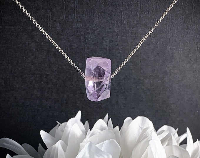 Amethyst Crystal Choker Large Stone Necklace Natural Amethyst Nugget Necklace