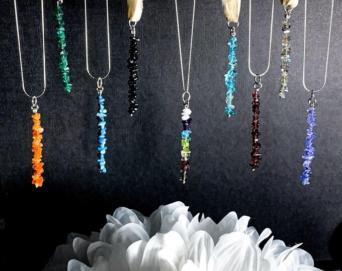 Raw Crystal Silver Bar Birthstone Necklace, Gem Bar Necklace, Gemstone Pendant Necklace