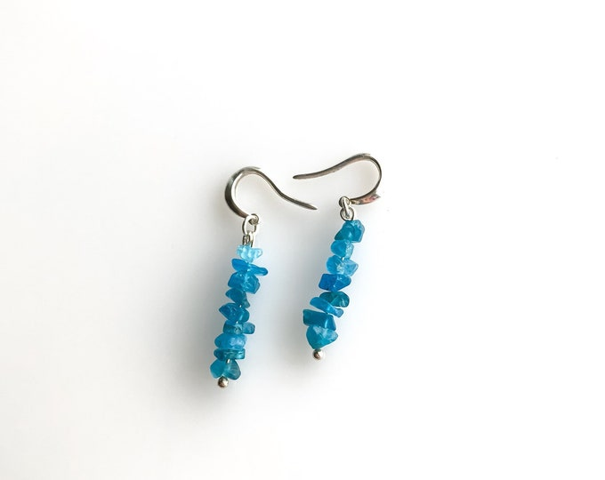 Apatite Earrings Encouragement Gift Weight loss Gift Throat Chakra raw crystal earrings