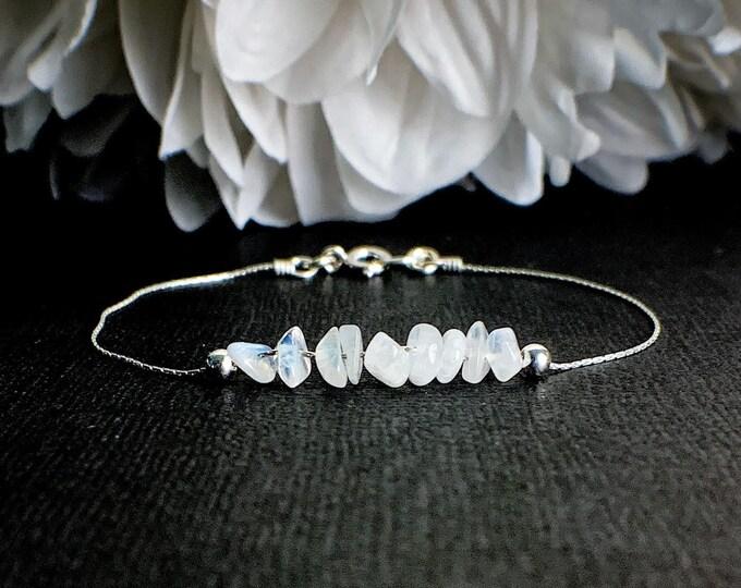 Moonstone Anklet Hope Gift, Encouragement Gift for Her, Positive Energy Bracelet, Sacred Feminine Crystal Ankle Jewelry, balanc Crown Chakra