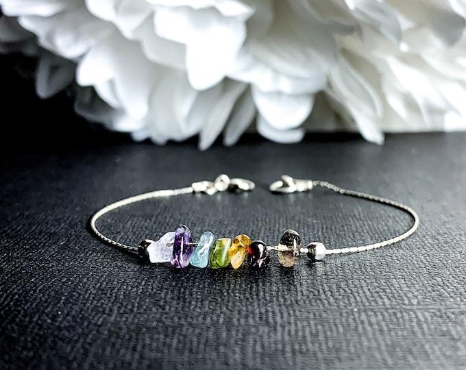 7 Chakra Bracelet, Chakra Anklet, Dainty Silver Bracelet. Energy Bracelet, Balance Bracelet
