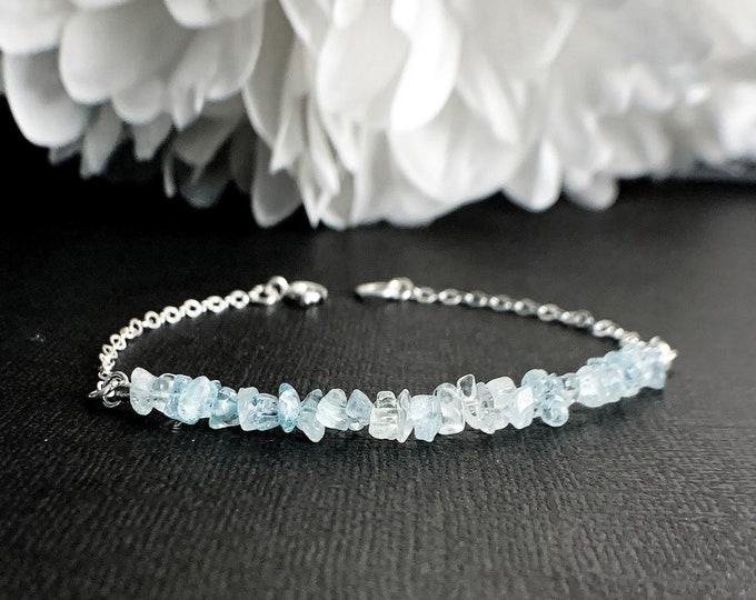 Raw Aquamarine Bracelet Blue Bracelet Protection Bracelet Pregnancy Bracelet Layering Bracelet Courage Bracelet March Birthstone Protection