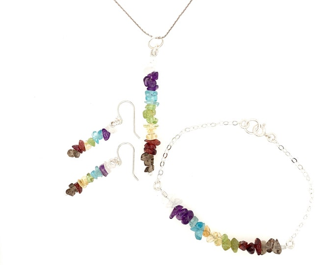 Chakra Pendant Jewelry Set Bead Bar Necklace, Bracelet, Earrings