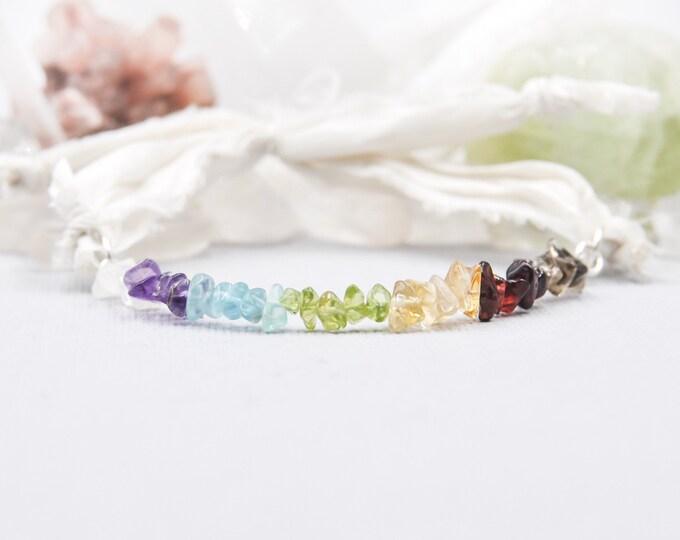 7 Chakra Bracelet Boho Wrap Bracelet, Balance Bracelet, Silk Wrap Bracelet