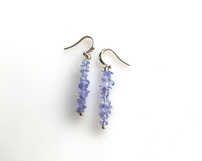 Raw Tanzanite Earrings, December Birthstone, Empath Jewelry, Aura Cleansing