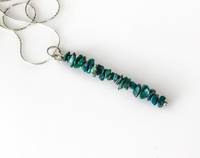 Chrysocolla Pendant CAlming Necklace, Throat Chakra, Anxiety Necklace, Bead Bar Necklace