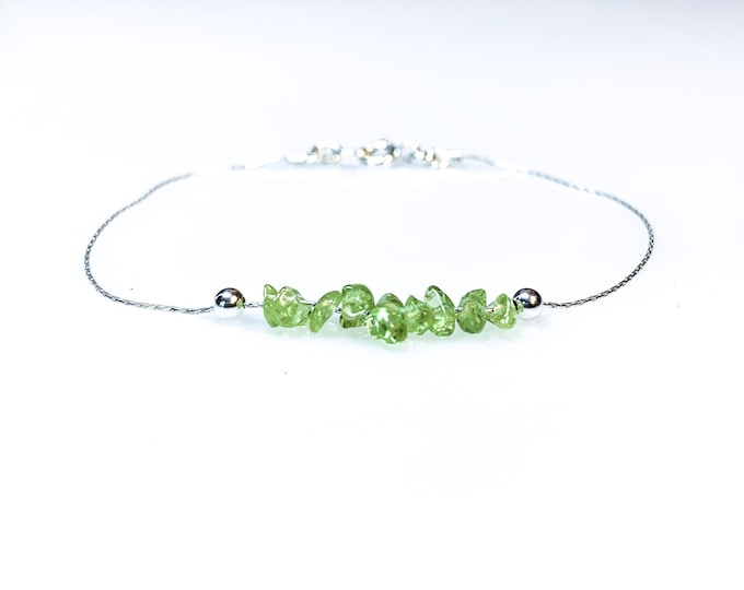 Raw Peridot Bracelet, Good Luck Bracelet, Energy Bracelet, August Birthstone